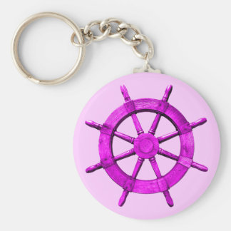 Pink Ships Wheel Keychains