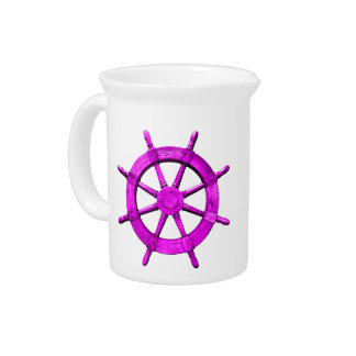 Pink Ships Wheel Pitcher