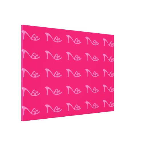 pink shoes pattern stretched canvas prints