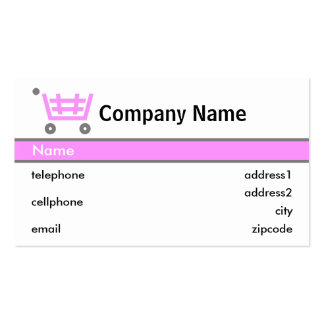 Pink Shopping Trolley Card Design Pack Of Standard Business Cards