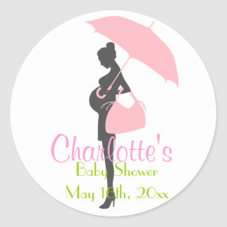 Pink Silhouette Baby Shower Stickers