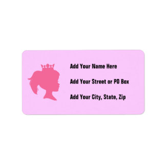 Pink Silhouette Princess T-shirts and Gifts Address Label
