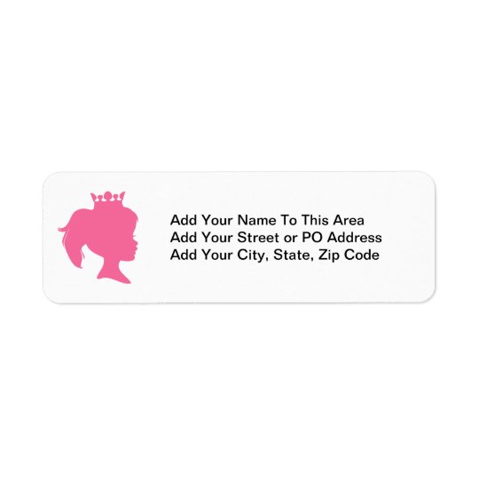 Pink Silhouette Princess T-shirts and Gifts Return Address Label