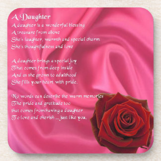 Pink Silk & red rose - daughter Poem Coaster