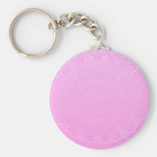 Pink Silken Engraved Look : Add Text or Image Basic Round Button Key Ring