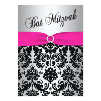"Pink, Silver, and Black Damask Bat Mitzvah Invite 5"" X 7"" Invitation Card"