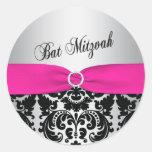 Pink, Silver, and Black Damask Bat Mitzvah Sticker