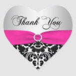 Pink, Silver, and Black Damask Thank You Sticker