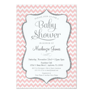 Pink Silver Baby Shower Invitation Chevron Girl
