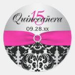 Pink, Silver, Black Damask Quinceanera Sticker