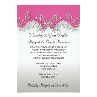 Pink Silver Butterflies 25th Anniversary Card