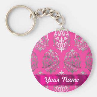 Pink & silver damask basic round button key ring