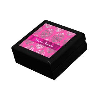Pink & silver damask small square gift box