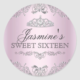 Pink Silver Damask Tiara Sweet 16 Sticker