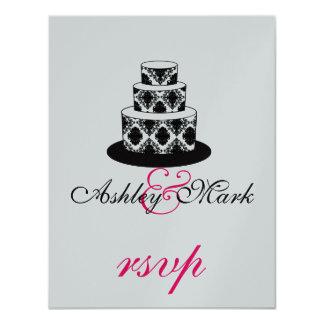 Pink Silver  Damask Wedding Cake RSVP Cards 11 Cm X 14 Cm Invitation Card