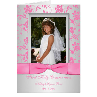 Pink Silver First Communion Photo Thank You Card