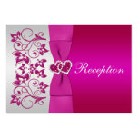 Pink, Silver Floral Wedding Reception Card