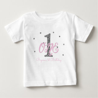 Pink & Silver Girls ONE 1st Birthday Party Custom Baby T-Shirt