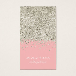 Pink & Silver Glitter Business Card