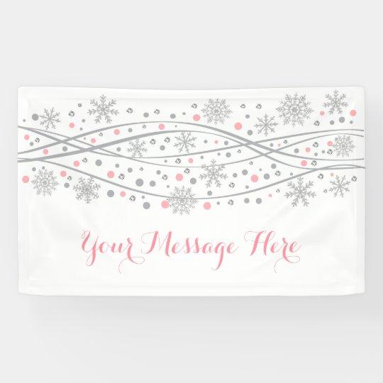 Pink & Silver Glitter Snowflake Baby Shower Banner