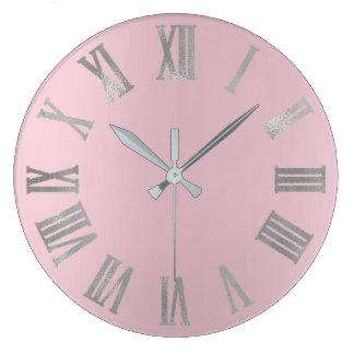 Pink Silver Gray Pastel Metallic Roman Numers Large Clock