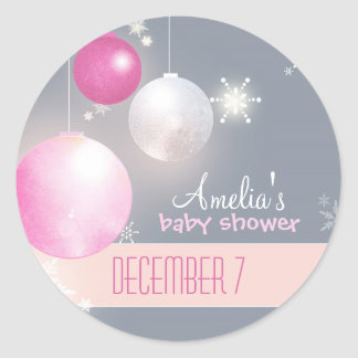 Pink Silver Gray Winter Baby Girl Shower Classic Round Sticker