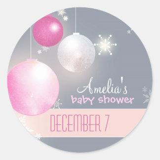 Pink Silver Gray Winter Baby Girl Shower Round Sticker
