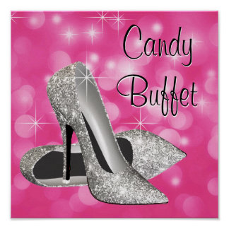 Pink Silver High Heel Shoe Candy Buffet Sign Poster