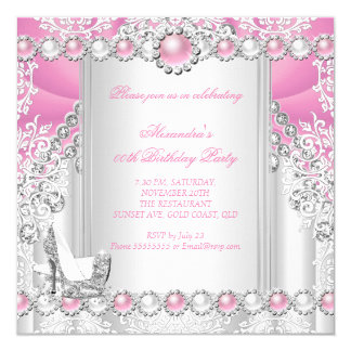 Pink Silver High Heels Pearl Birthday Party 3 Card