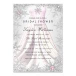 Pink Silver Jewel Snowflake Bridal Shower Dress 13 Cm X 18 Cm Invitation Card