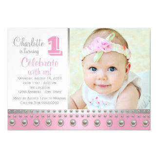 Pink Silver Pearl First Birthday 13 Cm X 18 Cm Invitation Card