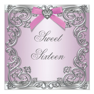 Pink Silver Pink Sweet 16 Birthday Party Card
