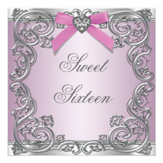 Pink Silver Pink Sweet 16 Birthday Party Invite