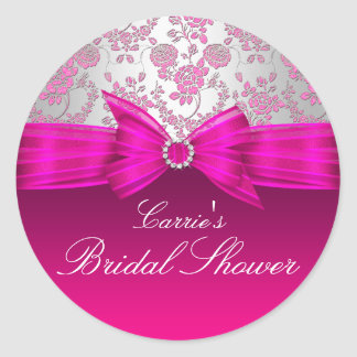 Pink & Silver Rose Bridal Shower Sticker