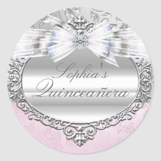Pink & Silver Rose Quinceanera Sticker