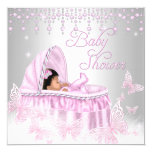 Pink Silver Sparkle Butterfly Baby Shower Ethnic 13 Cm X 13 Cm Square Invitation Card