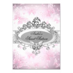 Pink Silver Sparkle Butterfly Sweet Sixteen 11 Cm X 16 Cm Invitation Card