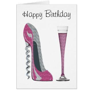 Pink, Silver Sparkle Corkscrew Stiletto Art Greeting Card