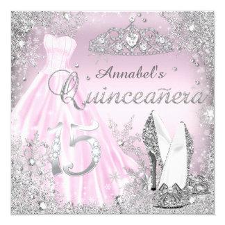 Pink & Silver Sparkle Dress & Tiara Quinceanera 13 Cm X 13 Cm Square Invitation Card