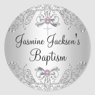 Pink & Silver Sparkle Jewel Baptism Sticker