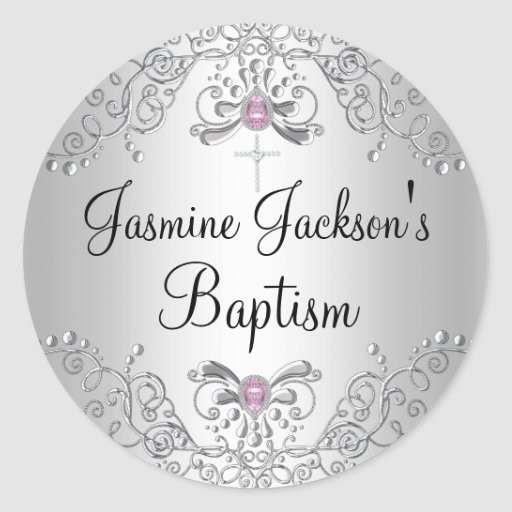 Pink & Silver Sparkle Jewel Baptism Sticker