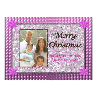 Pink & Silver Sparkle Sequin Christmas Photo Card 13 Cm X 18 Cm Invitation Card