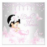 Pink Silver Sprinkle Butterfly Baby Shower 13 Cm X 13 Cm Square Invitation Card