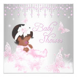 Pink Silver Sprinkle Butterfly Baby Shower Ethnic 13 Cm X 13 Cm Square Invitation Card
