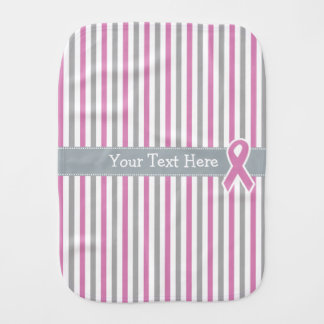 Pink & Silver Stripes custom burp cloth