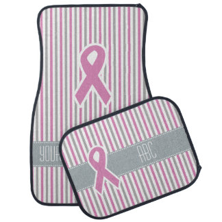 Pink & Silver Stripes custom car floor mats