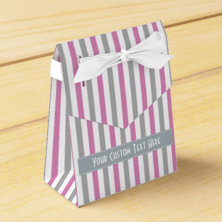 Pink & Silver Stripes custom favor boxes