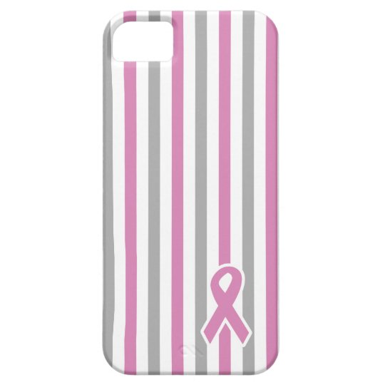 Pink & Silver Stripes custom iPhone case