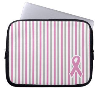 Pink & Silver Stripes custom laptop sleeve