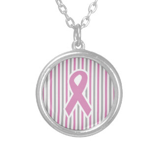 Pink & Silver Stripes custom necklace